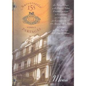 Partagas 155th Anniversary Dinner Menu at the Hotel Nacionales