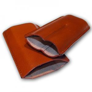 Plain Leather Cigar Case - Two Corona - TAN
