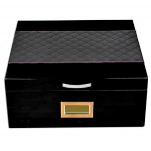 Prestige Hampton Humidor + Diamond Stitched Leather Top - Black – 200 Capacity