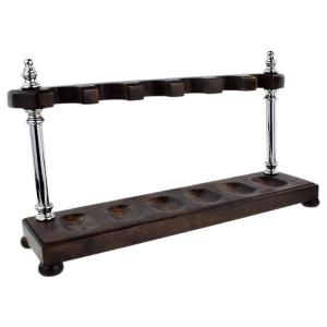 Chrome Pillar 6 Position Dark Camwood Pipe Rack - Holds 6 Pipes