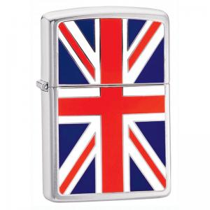 Zippo - Brushed Chrome Union Jack Emblem - Windproof Lighter