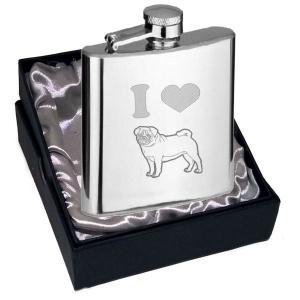 6oz I Love Pugs Personalised Hip Flask