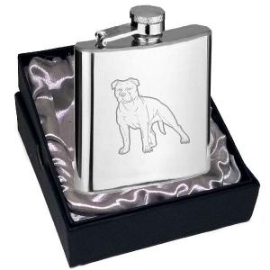 4oz Staffordshire Bull Terrier Design Personalised Hip Flask