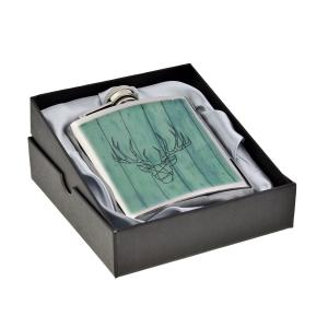 Contemporary Stag Design 6oz Hip Flask