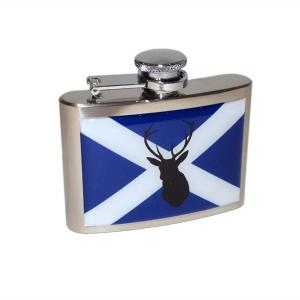 4oz Scottish Saltire Stag Personalised Hip Flask