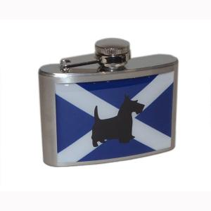 4oz Scottish Saltire Scottish Terrier Personalised Hip Flask
