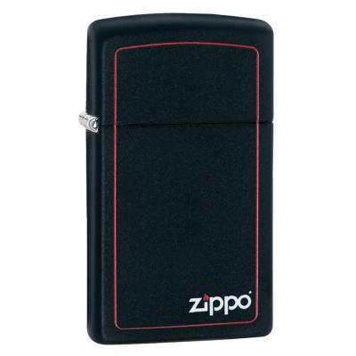 Zippo - Slim Black Matte Logo & Border - Windproof Lighter