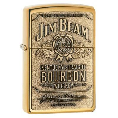 Zippo - Jim Beam Label Brass Emblem - Windproof Lighter