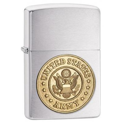Zippo - U.S. Army Emblem Brushed Chrome - Windproof Lighter