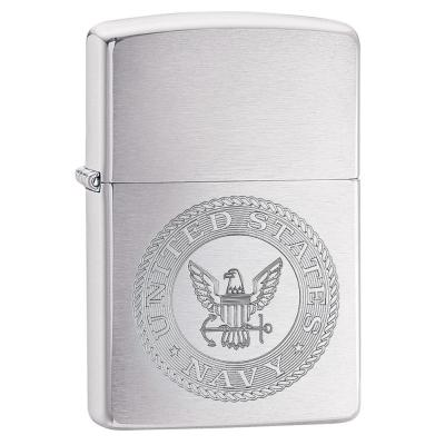Zippo - U.S. Navy Crest Brushed Chrome - Windproof Lighter