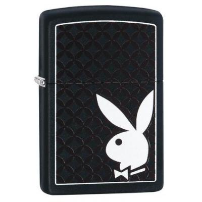 Zippo - Black Matte Playboy Bunny & Border - Windproof Lighter