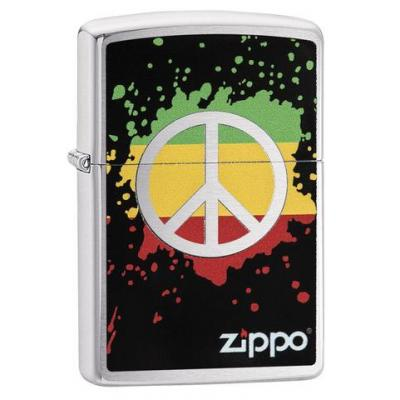 Zippo - Brushed Chrome Peace Splash - Windproof Lighter