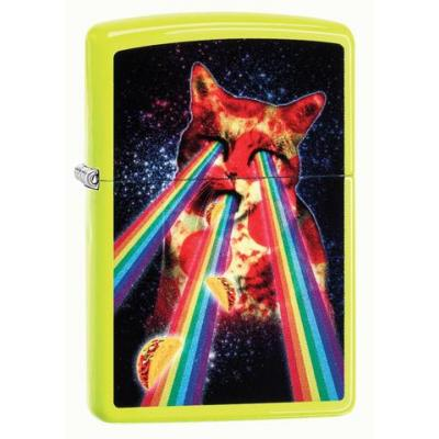 Zippo - Neon Yellow Pizza Cat - Windproof Lighter