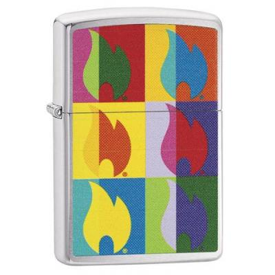 Zippo - Brushed Chrome - Abstract Flame - Windproof Lighter