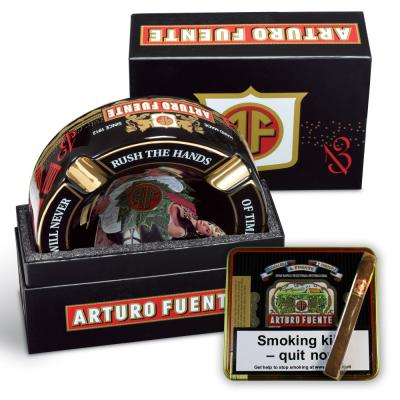 Arturo Fuente 4 Cigar Rest Ashtray and Cubanitos Sampler - Black Ashtray