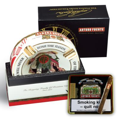 Arturo Fuente 4 Cigar Rest Ashtray and Cubanitos Sampler - White Ashtray