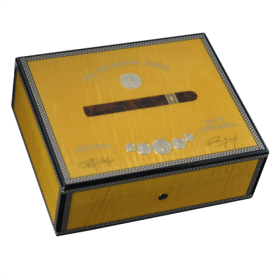 Elie Bleu Medals Collection Yellow Sycamore Humidor - 75 Cigar Capacity