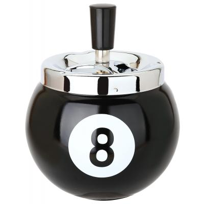 8 Ball Metal Spinning Ashtray - Black