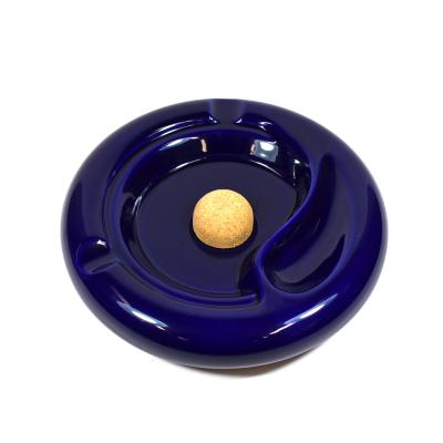 Talamona Large Ceramic Pipe Ashtray with Cork Knocker - Blue