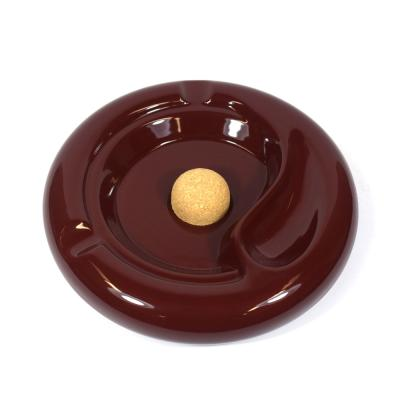 Talamona Large Ceramic Pipe Ashtray with Cork Knocker - Burgundy Bordeaux