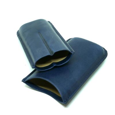Artamis Corona Navy Leather Cigar Case - Fits 2 Cigars - CHRISTMAS GIFT