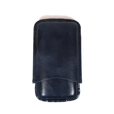 Artamis Corona Navy Leather Cigar Case - Fits 3 Cigars - CHRISTMAS GIFT