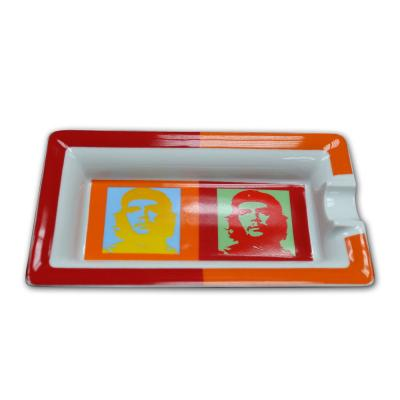 Elie Bleu Porcelain Cigar Ashtray - Che Pop Art - Red and Orange