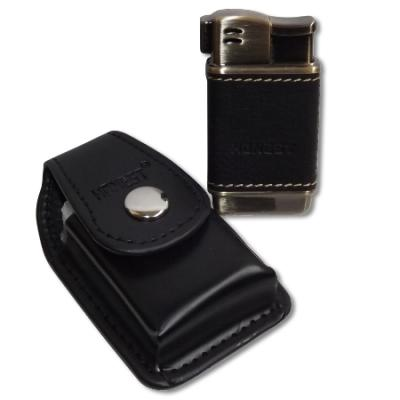 Honest Boyd Pipe Lighter and Case Set - Black Leather (HON01)