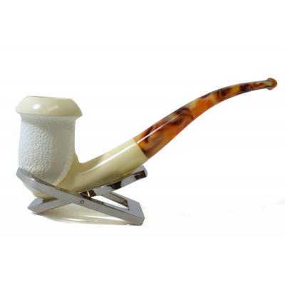 Meerschaum Medium Hand Carved Bent Fishtail Pipe (MEER147)