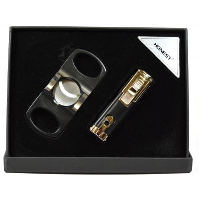 Honest Cigar Lighter and Cutter Set - Black  (HON114)