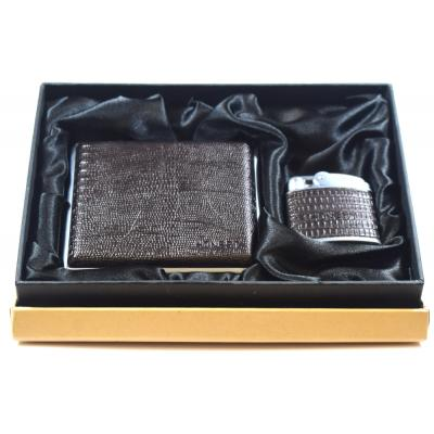 Honest Faux Lizard Print Cigarette Case and Windproof Lighter