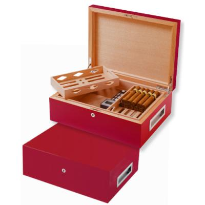 Villa Spa Cigar Humidor - up to 200 Cigar Capacity - Red - Fast Dispatch Available