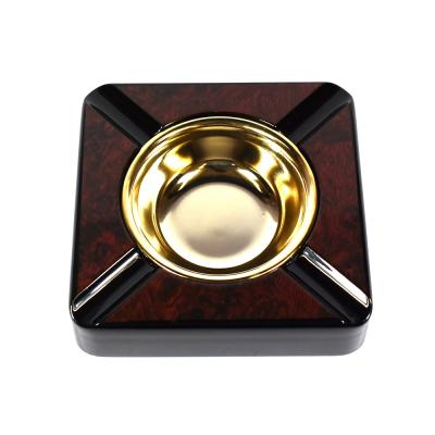 Square Burl 4 Rest Cigar Ashtray