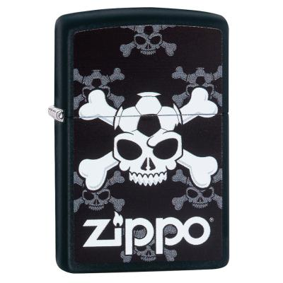 Zippo - Black Matte Jolly Roger Soccer - Windproof Lighter