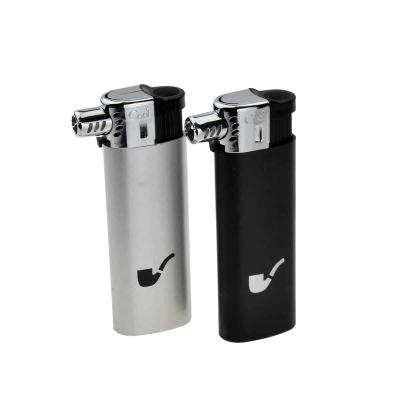 Cool Fixed Head Refillable Piezo Pipe Lighter - Silver & Black - Lucky Dip