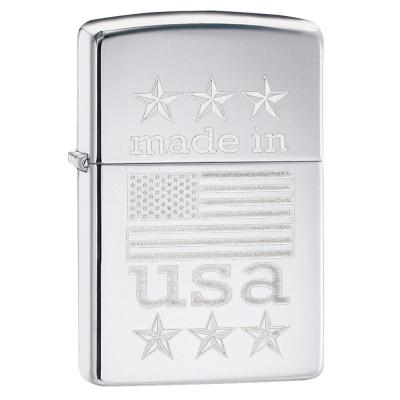 Zippo - Made In The USA With Flag - Windproof Lighter