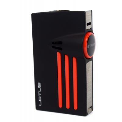 Lotus Orion Twin Point Torch Flamed Lighter With Punch Cut - Black Matte & Polished Red