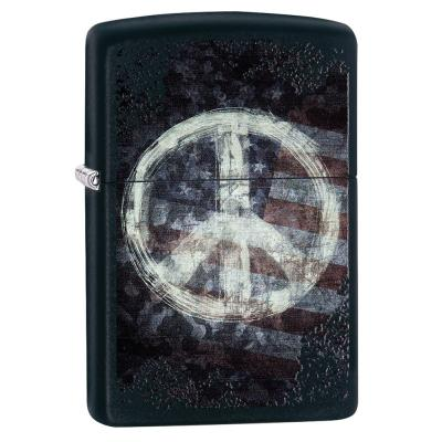 Zippo - Peace on Flag Black Matte - Windproof Lighter