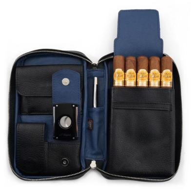Peter James Aficionado Hand Made Cigar Case - Black & Blue