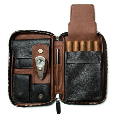 Peter James Cigar Aficionado Handmade Leather Travel Case - Black & Brown