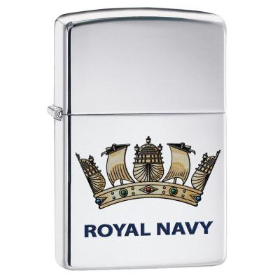 Zippo - High Polish Chrome Royal Navy Official Crest - Windproof Lighter
