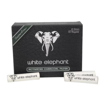 White Elephant Activated Charcoal 9mm Filters - Pack of 40