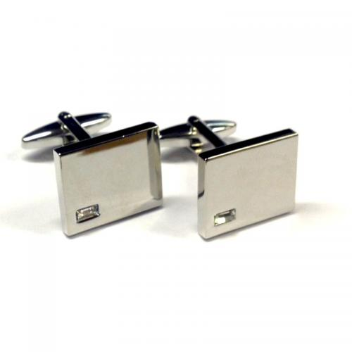 High Polished Crystal Personalised Cufflinks