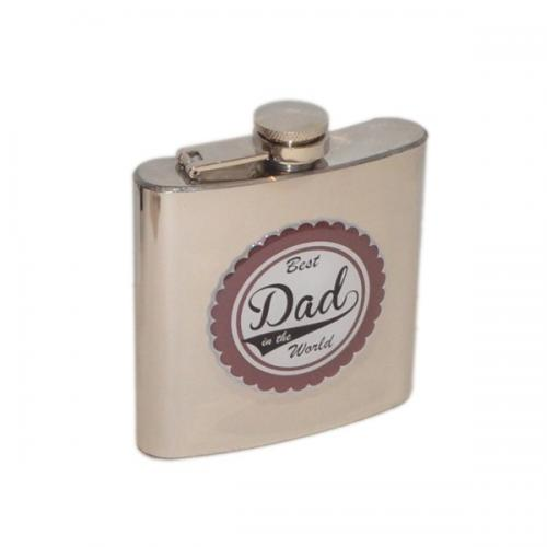 6oz Bronzed Best Dad Personalised Hip Flask