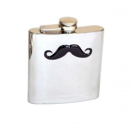 Large Moustache Design 6oz Hip Flask
