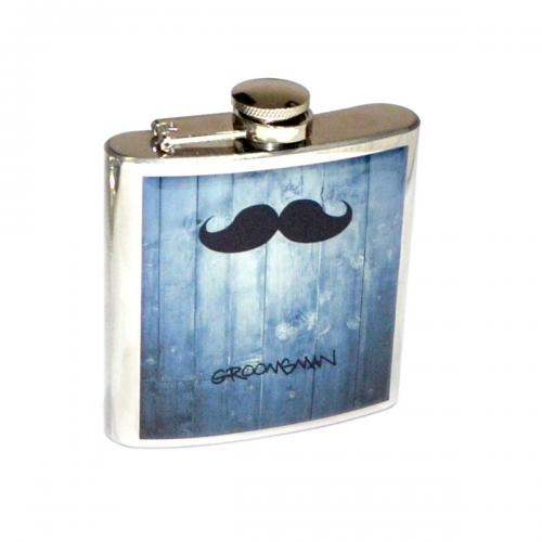 6oz Wedding Moustache Design Personalised Hip Flask