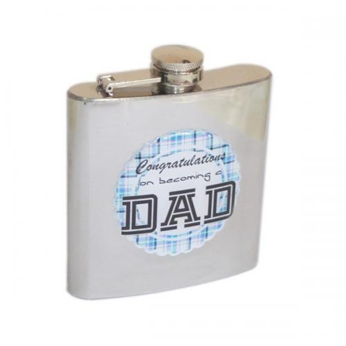 "6oz ""Congratulations on Becoming a Dad\"" Personalised Hip Flask"