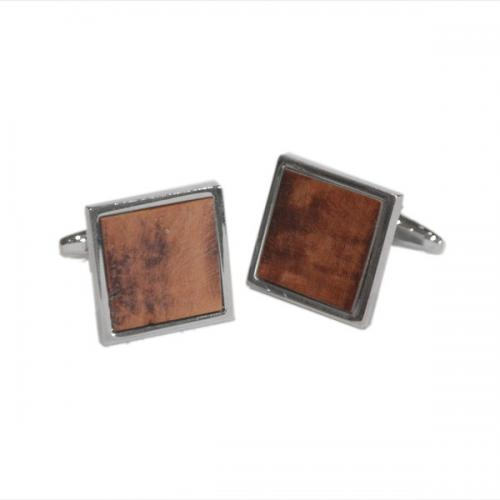 Square Briar Wood and Sterling Silver Cufflinks