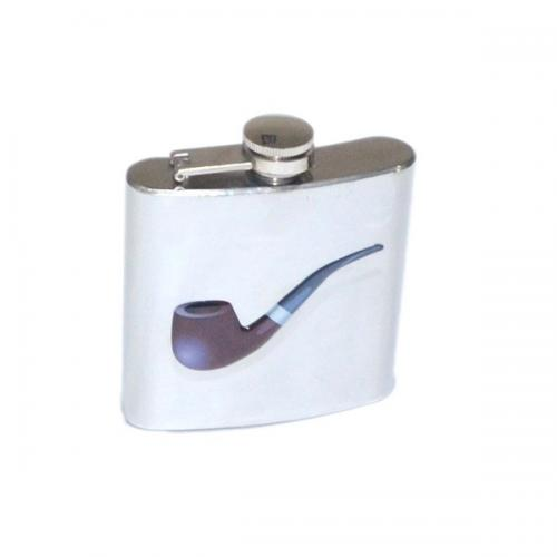 Stylish Pipe Smokers Design 6oz Hip Flask