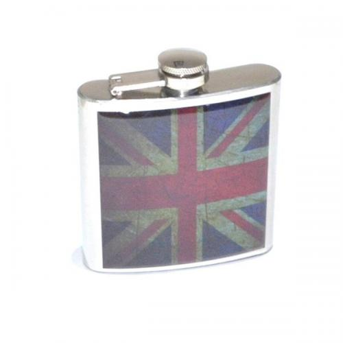 Distressed Union Jack Design 6oz Hip Flask